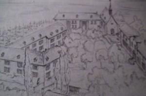 """So sah das Hofgut der Familie früher aus (Reproduktion aus der Schrift """"Kelkheimer Geschichte Nr.1"""", Mai 1998, herausgegeben vom Magistrat der Stadt Kelkheim)"""