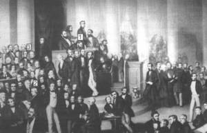 Die Frankfurter Nationalversammlung in der Paulskirche im Gemälde. Mit dabei: Heinrich von Gagern als Präsident (1), Max von Gagern als Abgeordneter (2), Hans Christoph von Gagern als Zuhörer (3)